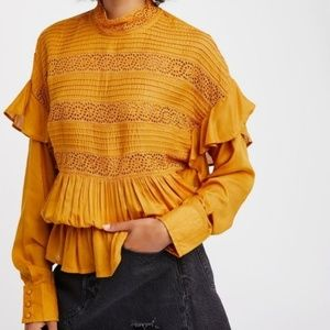 FREE PEOPLE Crush On You yellow crochet top M